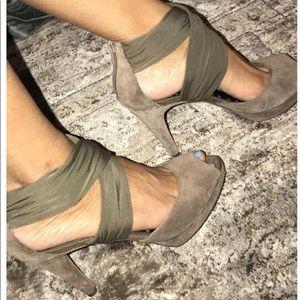 Suede/silk heels